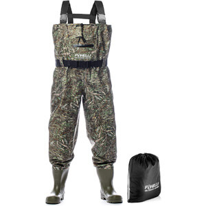 Foxelli Nylon Chest Waders – Camo Fishing Waders for Men